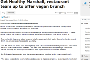 Get Healthy Marshall, restaurant team up to offer vegan brunch
